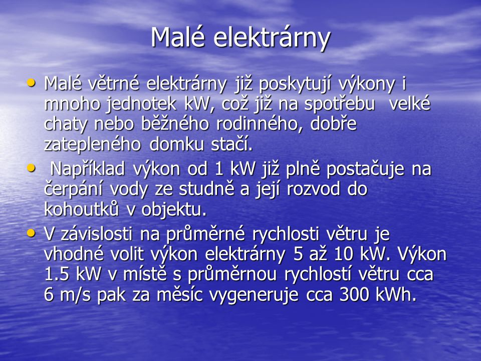 Malé elektrárny