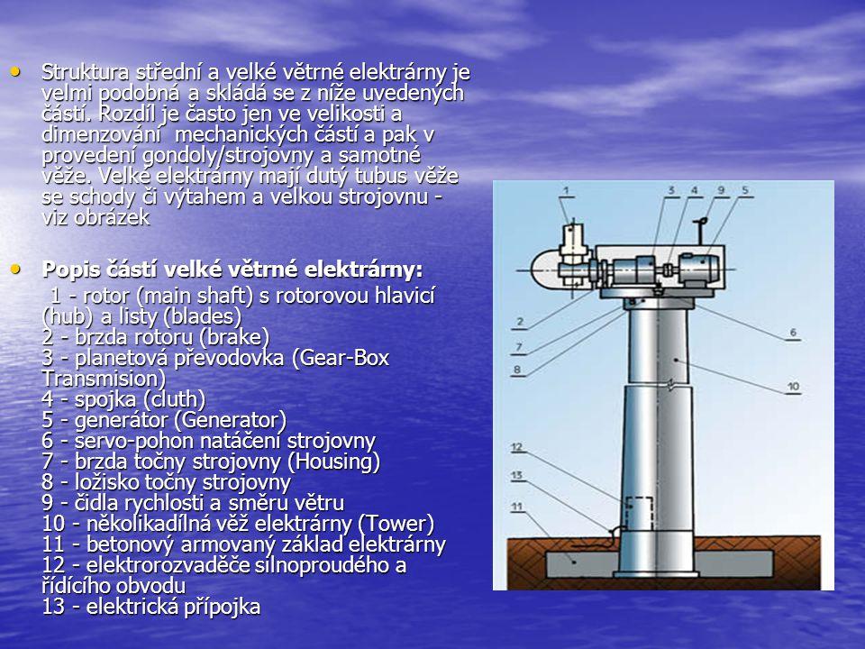 Struktura střední a velké větrné elektrárny je velmi podobná a skládá se z níže uvedených částí. Rozdíl je často jen ve velikosti a dimenzování mechanických částí a pak v provedení gondoly/strojovny a samotné věže. Velké elektrárny mají dutý tubus věže se schody či výtahem a velkou strojovnu - viz obrázek