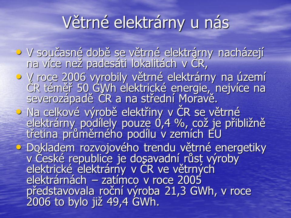 Větrné elektrárny u nás