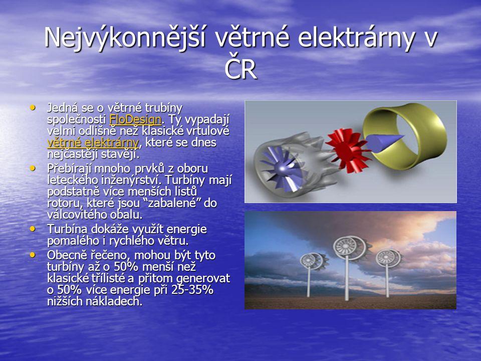 Nejvýkonnější větrné elektrárny v ČR