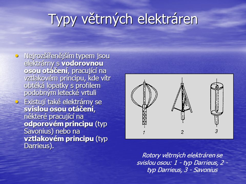 Typy větrných elektráren