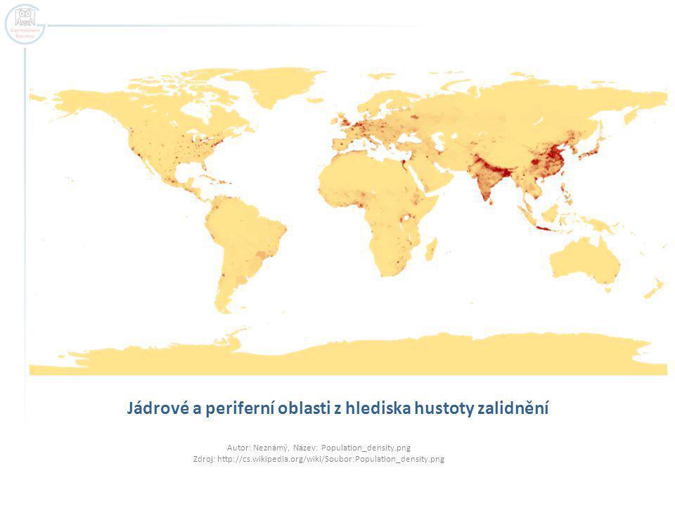 Jádrové a periferní oblasti z hlediska hustoty zalidnění
