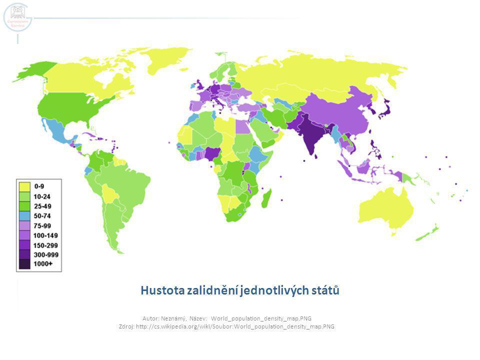 Hustota zalidnění jednotlivých států
