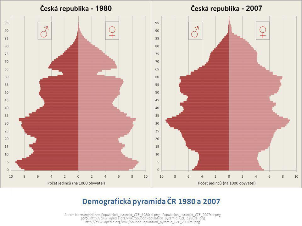 Demografická pyramida ČR 1980 a 2007