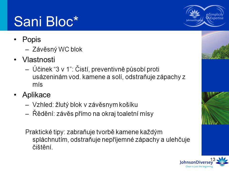 Sani Bloc* Popis Vlastnosti Aplikace Závěsný WC blok