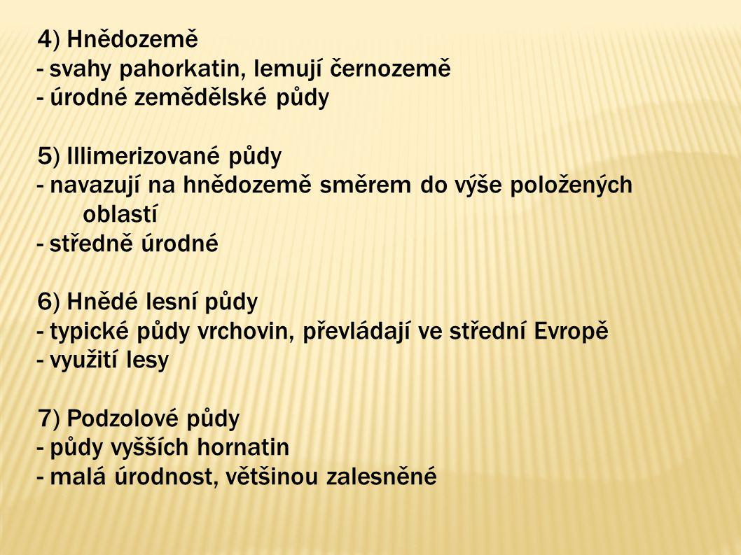 4) Hnědozemě - svahy pahorkatin, lemují černozemě. - úrodné zemědělské půdy. 5) Illimerizované půdy.