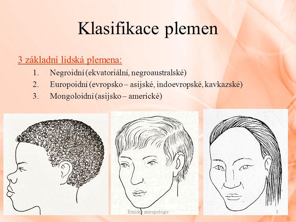 Klasifikace plemen 3 základní lidská plemena: