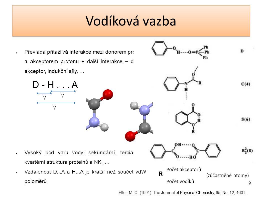 Vodíková vazba Převládá přitažlivá interakce mezi donorem protonu a akceptorem protonu + další interakce – donor-akceptor, indukční síly, …