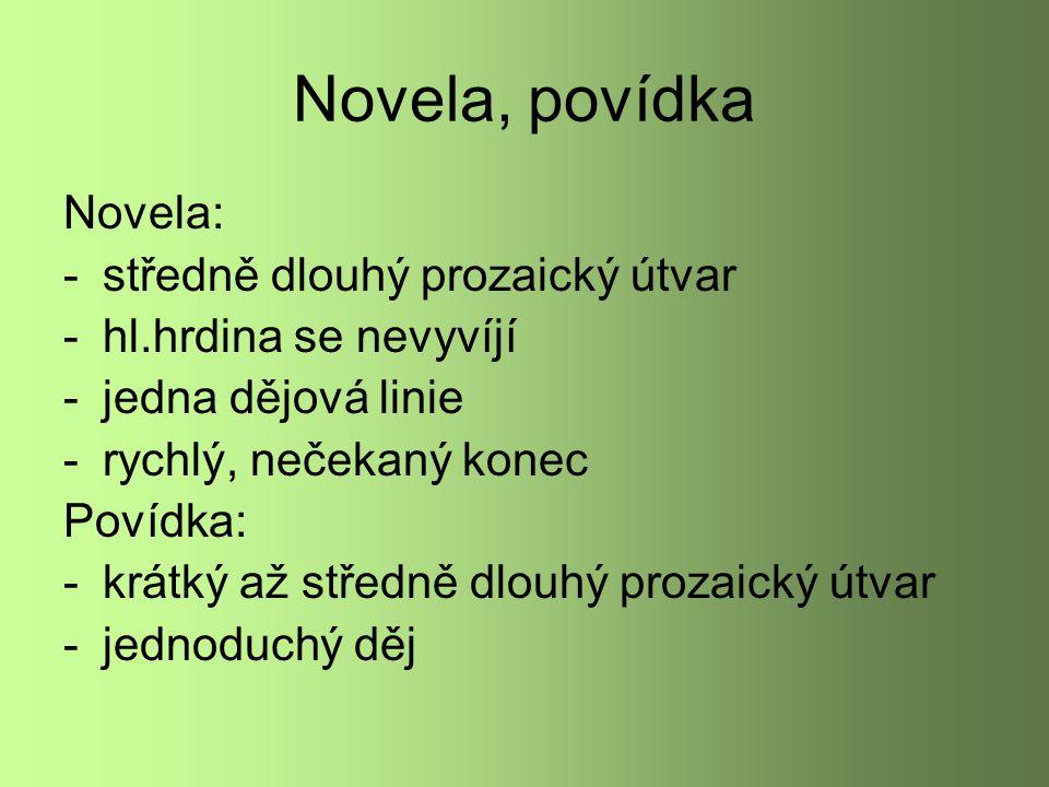 Novela, povídka Novela: středně dlouhý prozaický útvar