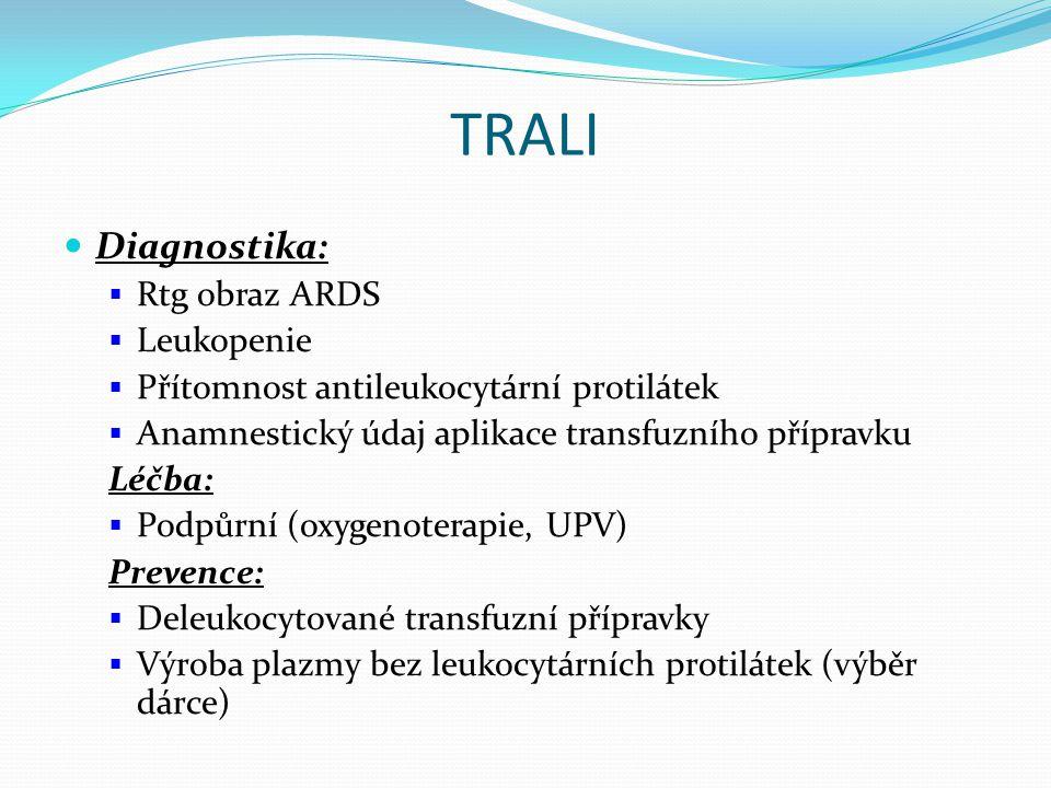 TRALI Diagnostika: Rtg obraz ARDS Leukopenie