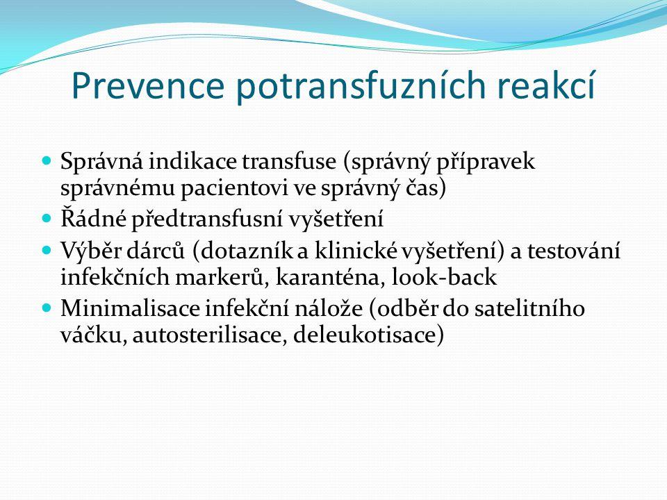 Prevence potransfuzních reakcí