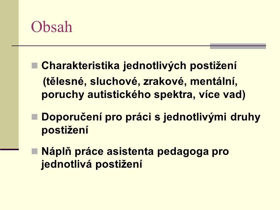 Obsah Charakteristika jednotlivých postižení