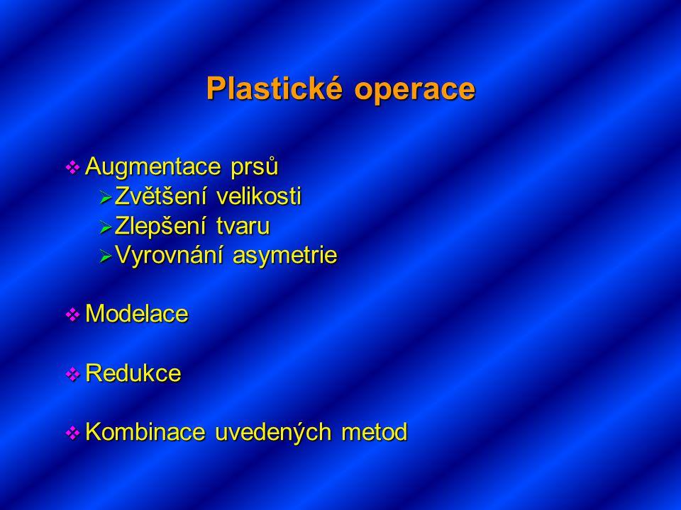 Plastické operace Augmentace prsů Zvětšení velikosti Zlepšení tvaru