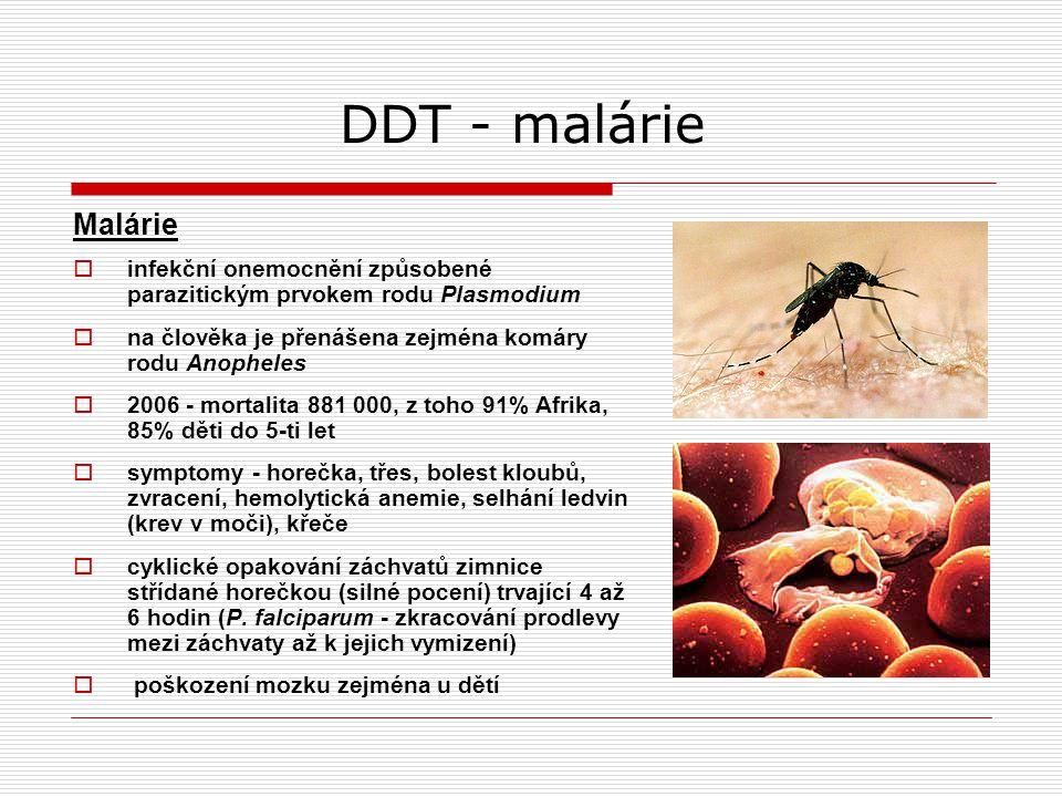 DDT - malárie Malárie. infekční onemocnění způsobené parazitickým prvokem rodu Plasmodium. na člověka je přenášena zejména komáry rodu Anopheles.
