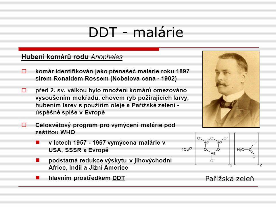 DDT - malárie Hubení komárů rodu Anopheles Pařížská zeleň