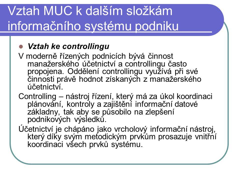 Vztah MUC k dalším složkám informačního systému podniku