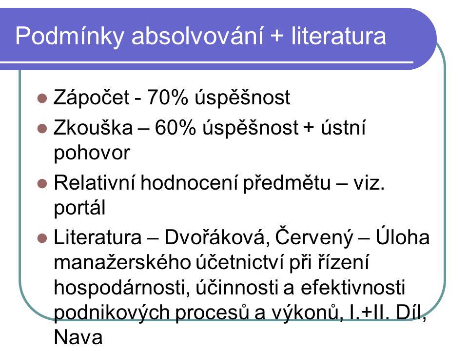 Podmínky absolvování + literatura