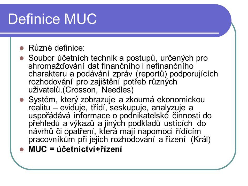 Definice MUC Různé definice: