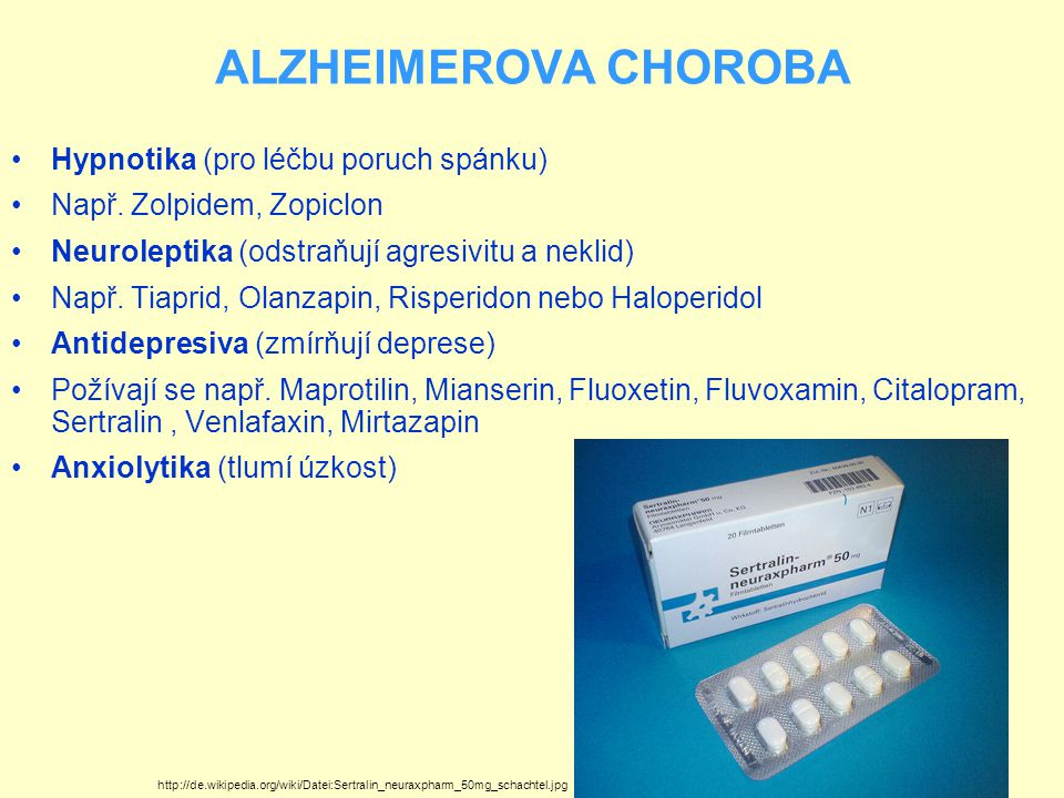 ALZHEIMEROVA CHOROBA Hypnotika (pro léčbu poruch spánku)