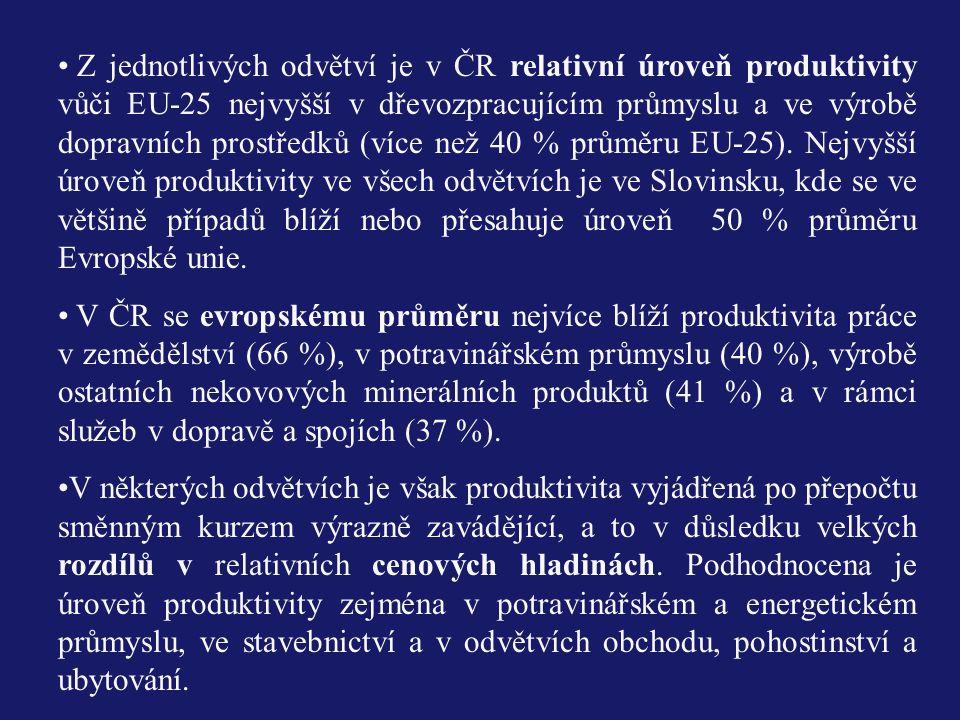 Z jednotlivých odvětví je v ČR relativní úroveň produktivity vůči EU-25 nejvyšší v dřevozpracujícím průmyslu a ve výrobě dopravních prostředků (více než 40 % průměru EU-25). Nejvyšší úroveň produktivity ve všech odvětvích je ve Slovinsku, kde se ve většině případů blíží nebo přesahuje úroveň 50 % průměru Evropské unie.