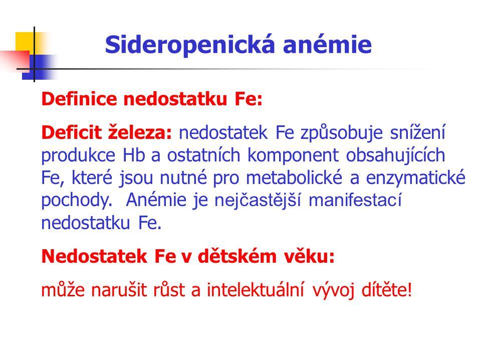 Sideropenická anémie Definice nedostatku Fe: