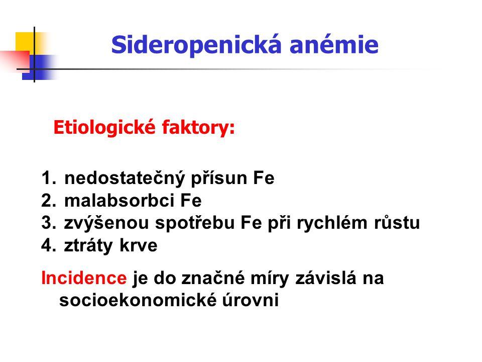 Sideropenická anémie Etiologické faktory: nedostatečný přísun Fe