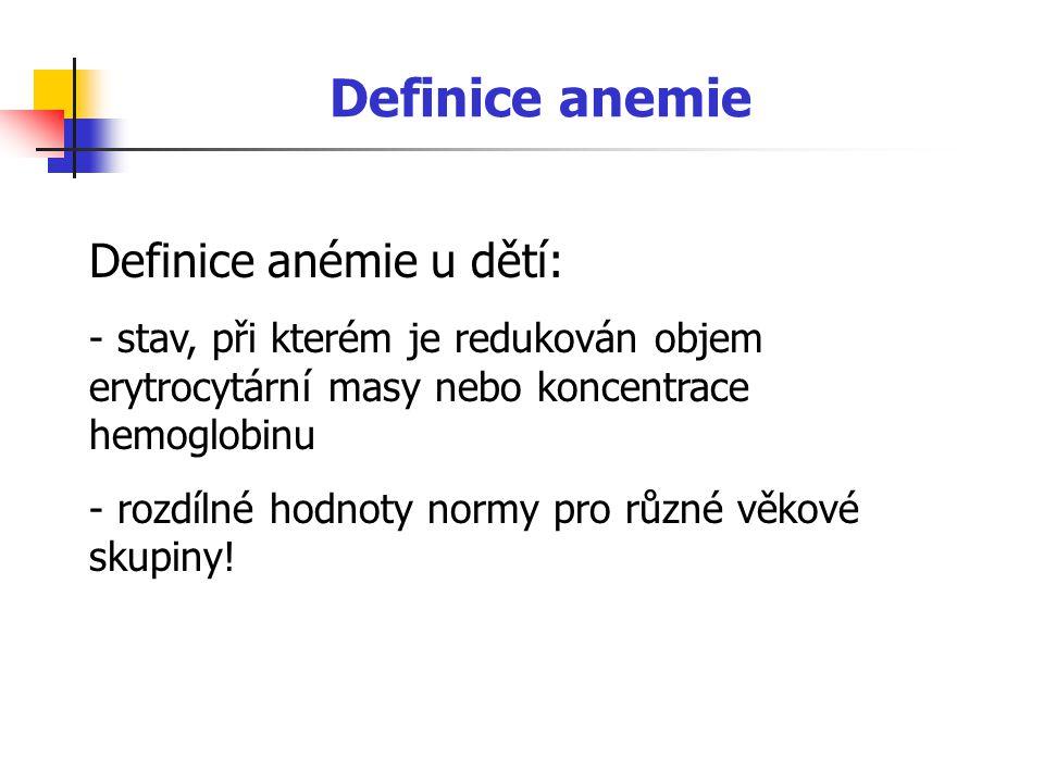 Definice anemie Definice anémie u dětí:
