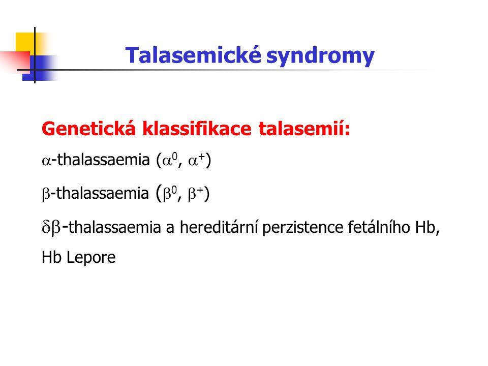 Talasemické syndromy Genetická klassifikace talasemií: