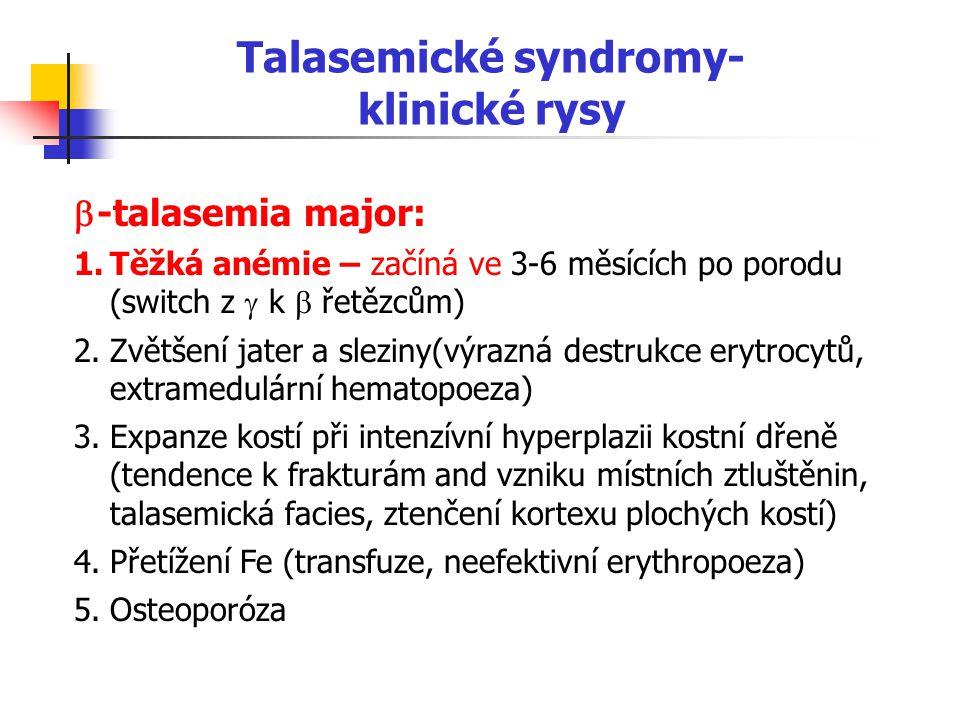 Talasemické syndromy- klinické rysy