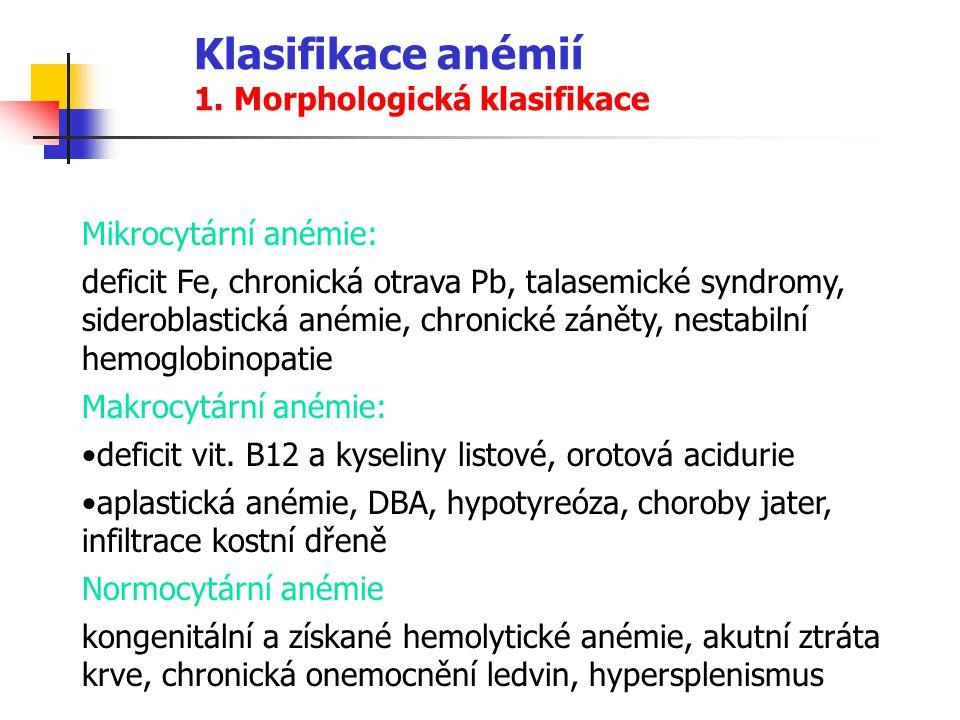 Klasifikace anémií 1. Morphologická klasifikace