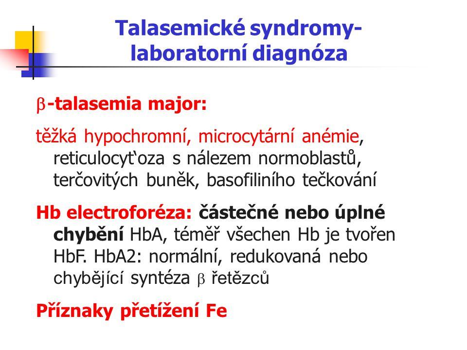 Talasemické syndromy- laboratorní diagnóza