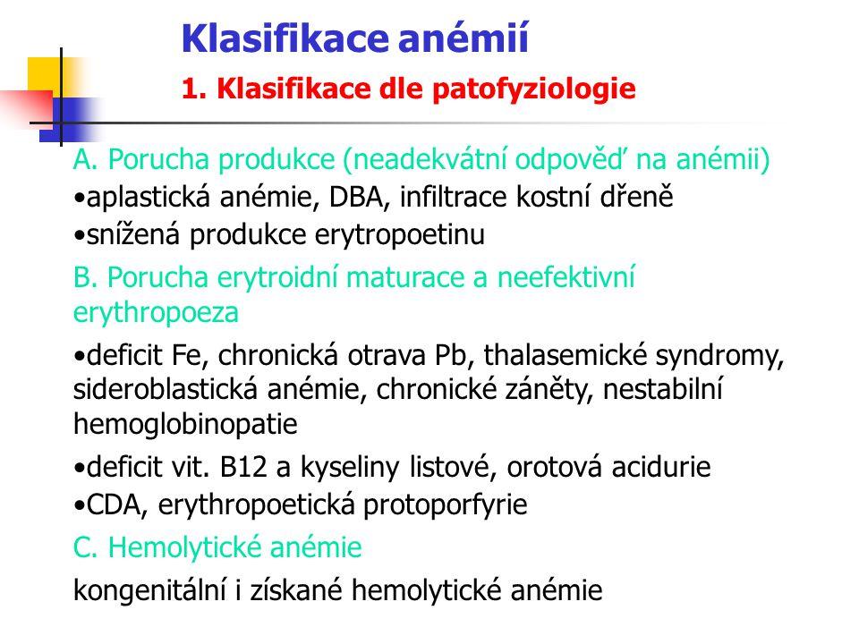 Klasifikace anémií 1. Klasifikace dle patofyziologie