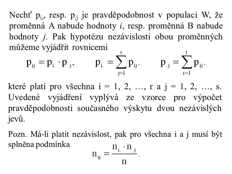 Nechť pi., resp. p.j je pravděpodobnost v populaci W, že proměnná A nabude hodnoty i, resp. proměnná B nabude hodnoty j. Pak hypotézu nezávislosti obou proměnných můžeme vyjádřit rovnicemi