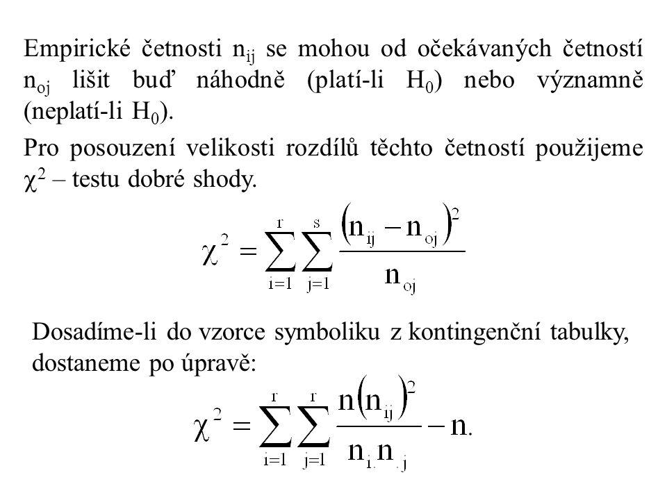 Empirické četnosti nij se mohou od očekávaných četností noj lišit buď náhodně (platí-li H0) nebo významně (neplatí-li H0).