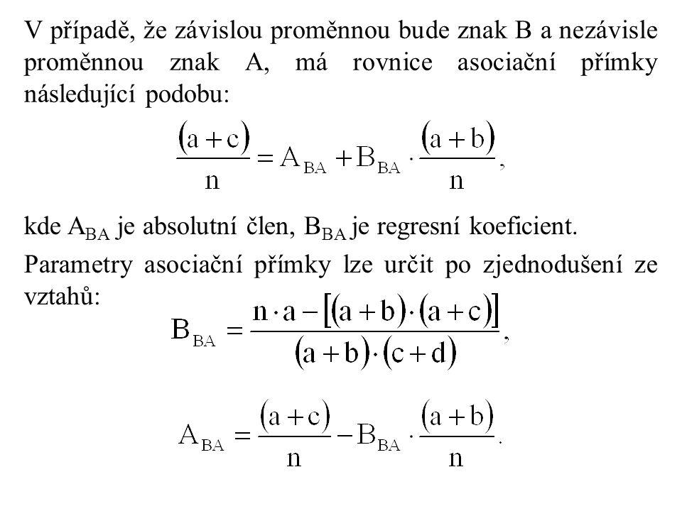 V případě, že závislou proměnnou bude znak B a nezávisle proměnnou znak A, má rovnice asociační přímky následující podobu: