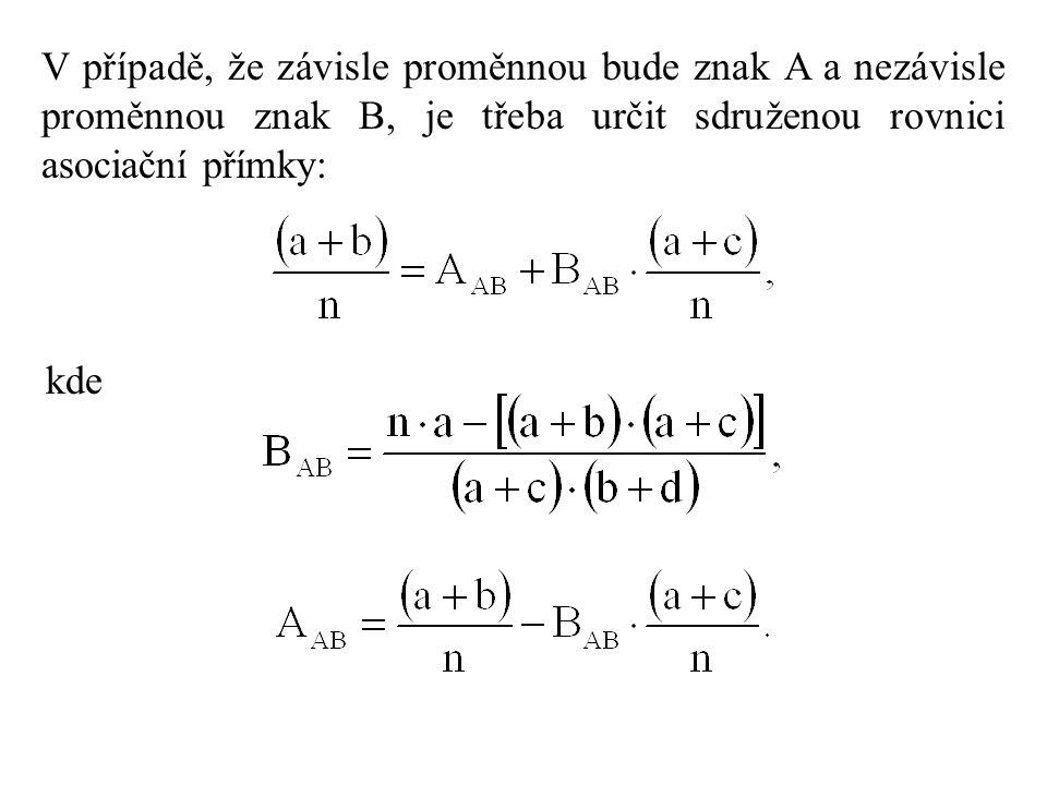 V případě, že závisle proměnnou bude znak A a nezávisle proměnnou znak B, je třeba určit sdruženou rovnici asociační přímky: