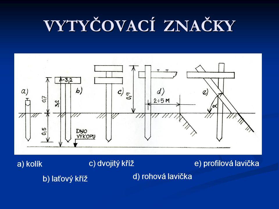 VYTYČOVACÍ ZNAČKY a) kolík c) dvojitý kříž e) profilová lavička