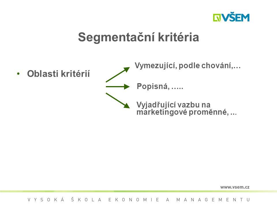 Segmentační kritéria Oblasti kritérií Vymezující, podle chování,…