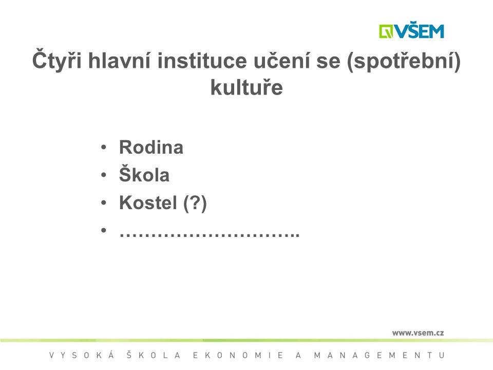 Čtyři hlavní instituce učení se (spotřební) kultuře