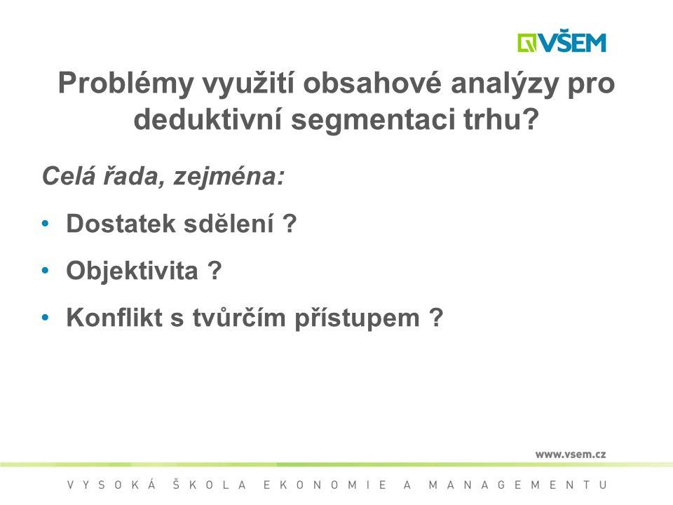 Problémy využití obsahové analýzy pro deduktivní segmentaci trhu