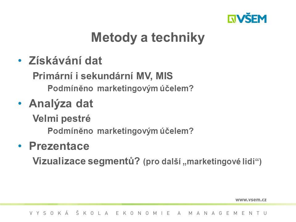 Metody a techniky Získávání dat Analýza dat Prezentace