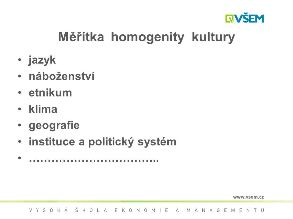 Měřítka homogenity kultury