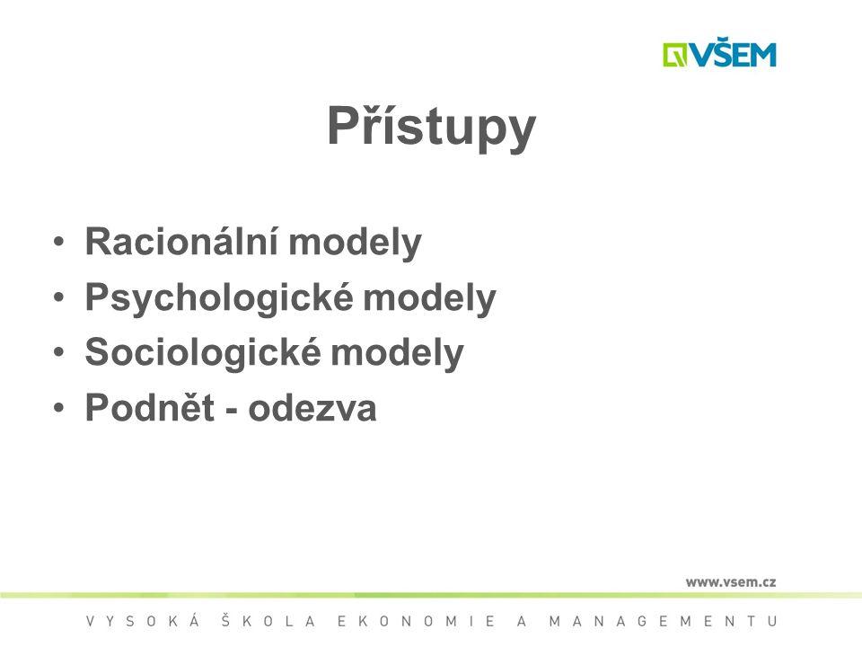 Přístupy Racionální modely Psychologické modely Sociologické modely