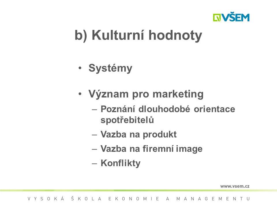 b) Kulturní hodnoty Systémy Význam pro marketing