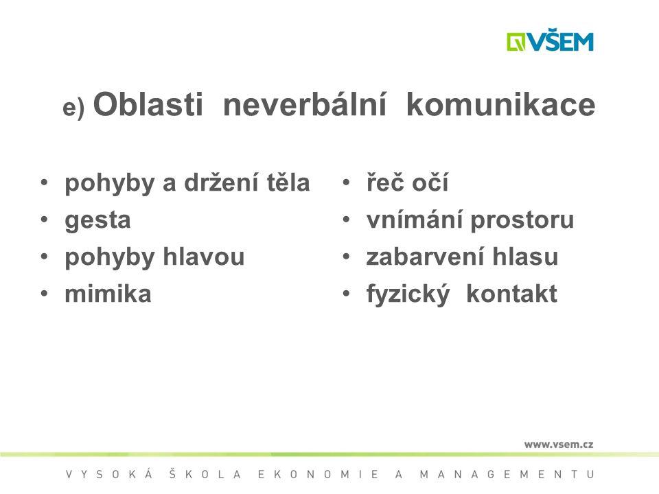 e) Oblasti neverbální komunikace