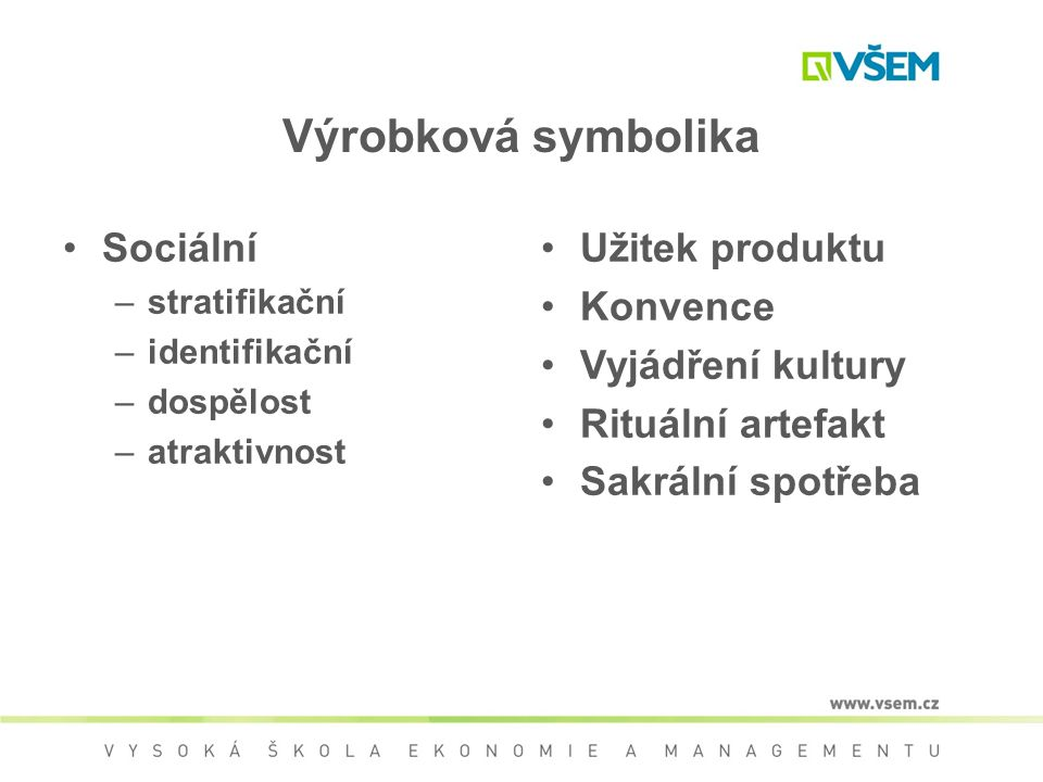 Výrobková symbolika Sociální Užitek produktu Konvence