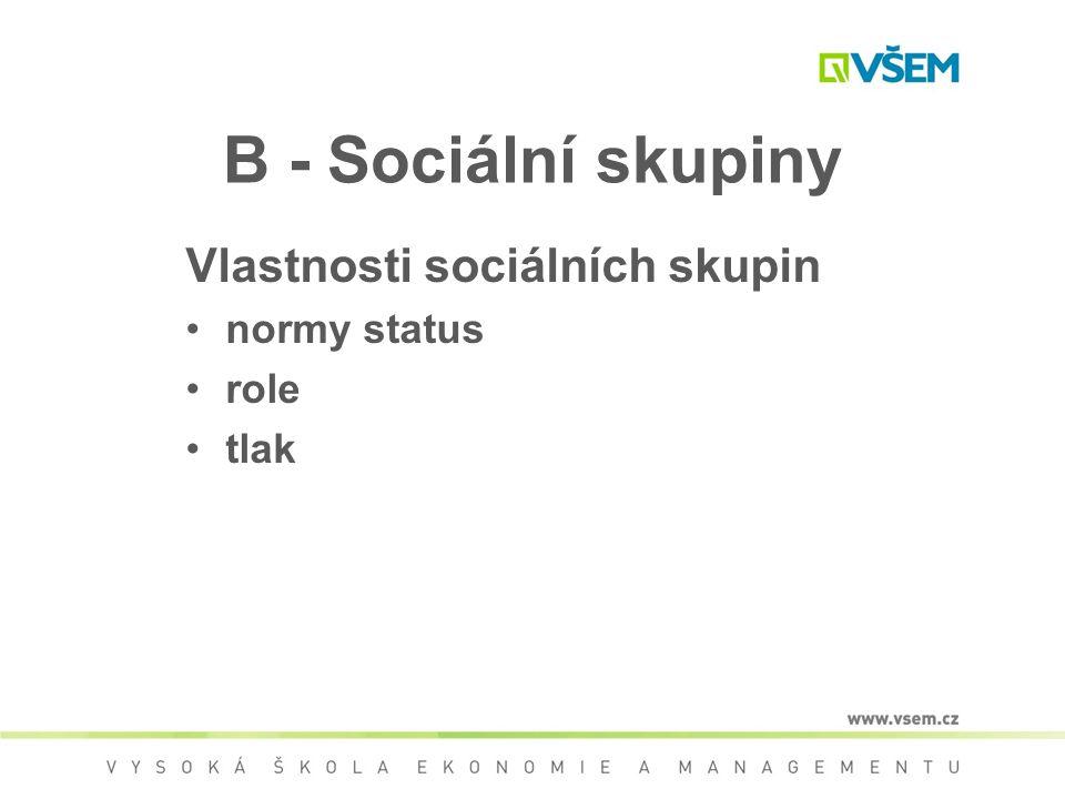 B - Sociální skupiny Vlastnosti sociálních skupin normy status role
