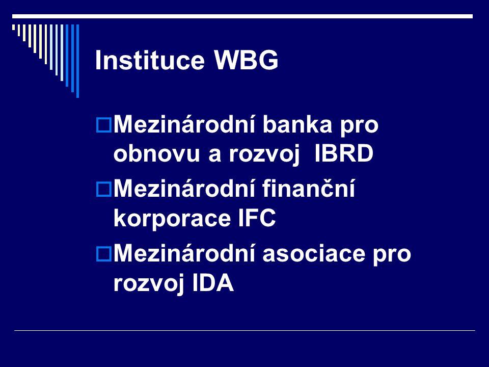 Instituce WBG Mezinárodní banka pro obnovu a rozvoj IBRD