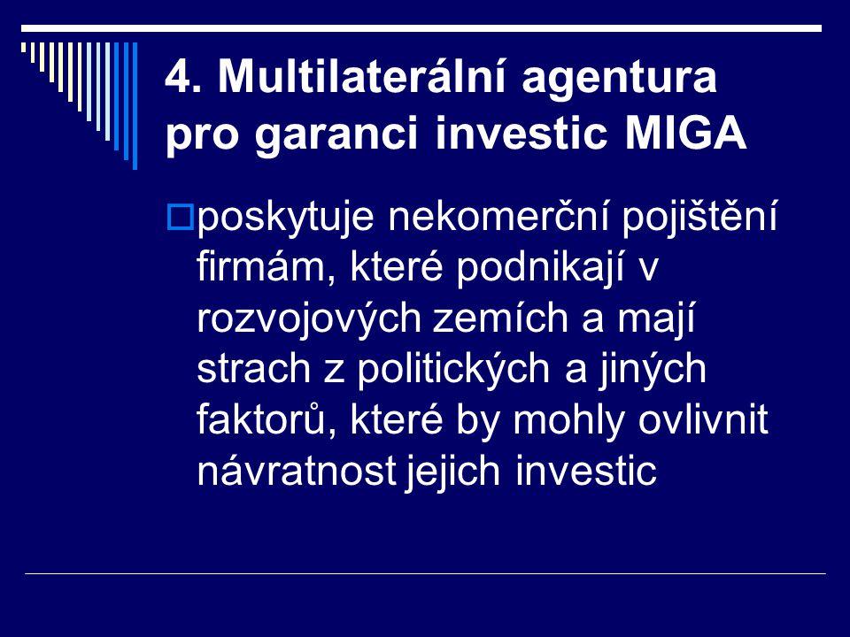 4. Multilaterální agentura pro garanci investic MIGA