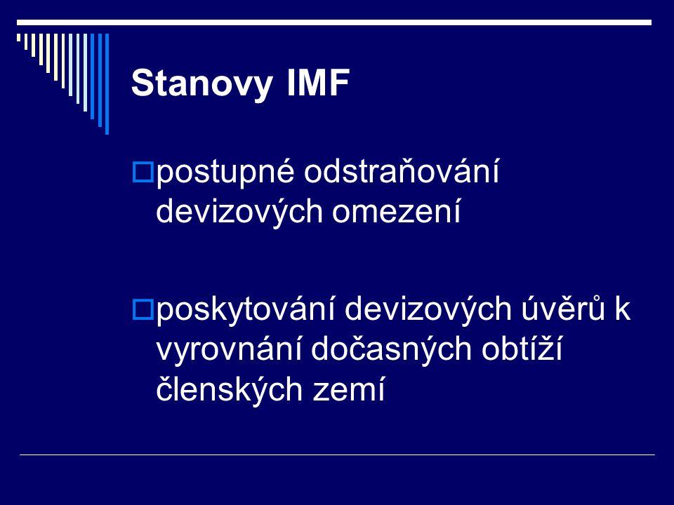 Stanovy IMF postupné odstraňování devizových omezení
